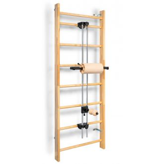 Fascia training station ROLLover, wall bars mounting, components in beech wood quality, intensive massage