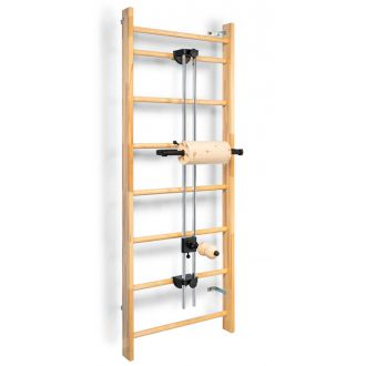 Fascia training station ROLLover, wall bars mounting, components in arolla pine wood quality, intensive massage