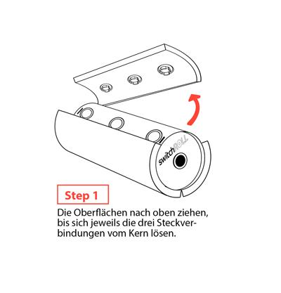 Faszienrolle switchROLL wechselbare Oberflaeche Step1 mey Ergonomics